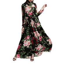 Vintage Maxi Autumn Chiffon Dress 2017 Women Rose Flower Print Sheer Sleeve Boho Long Beach Dress Scarf Black Vestido Longo(China)