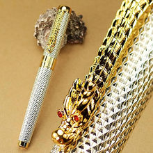 Jinhao 1200 Complete Silver Mesh Roller Ball Pen Dragon With Red Crystal In It's Eyes(China)