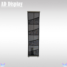 A4 Portable Four Mesh Pocket L Brochure Banner Stand,Lightweight Advertising Display Literature Holder,Retractable Magazine Rack