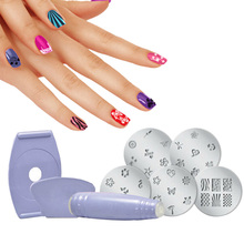 One Set Nail Art Equipment Nails Stencils Stamper DIY Fingernail Salon Stamping Painting Gel Nail Polish Manicure Tools