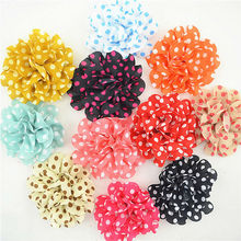 22pcs 11Colors 10cm High Quality Polka Dot Chiffon Flower Without Clip Dot Chiffon Flowers for DIY Hair Supplies Hair Accessory