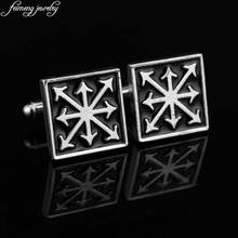 Warhammer Chaos Star Cufflinks Vintage Square Brand Black Enamel Cuff links Fashion Game Jewelry Accessories For Men