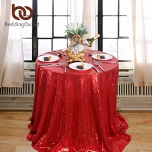 BeddingOutlet Round Tablecloth Red Sequin Table Cloth Sparkly Bling Beautiful Tablecloths Luxury Party Table Cover for Christmas