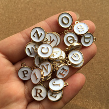 Free Shipping 52PCS 2 Sets White Oil Drop Enamel Letter Charms Phone Chain Keyring Bracelet Initial Alphabet Metal Alloy Charm