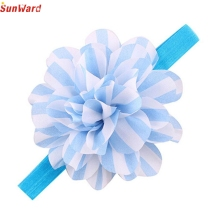 SunWard Newly Design Baby Girls Striped Big Flower Headbands Children Elastic Hair Accessories Oct9 Drop Shipping