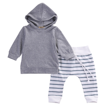 Fashion Baby Boy Hooded Coat Kids Grey Tops Toddler Long Sleeves Sweatshirt Infant Striped Pants Baby 2PCS Clothing Set(China)