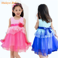 Malayu Baby 2016 Europe and the latest designer dress teen girl sleeveless dress applique bow Easter baby girl costume dress
