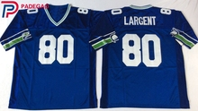 Embroidered Logo Steve Largent blue 80 throwback high school FOOTBALL JERSEY white for fans gift cheap 1105-1(China)