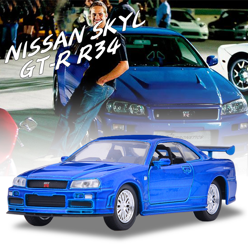 Free Shipping Brand New 1:32 JADA NISSAN SKYL GT-R R34 Alloy Diecast Model Car Vehicle Toy For Children Gift Collection Toys(China)