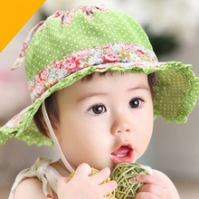 Moeble Summer style pretty baby girl bucket hat Wide brim princess sun hat infant floral lace girls beach hat 1pc H748(China)