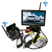 "FREE SHIPPING 12-24V DC Wireless Back-up Reversing Camera System Kit + 7"" Rear View LCD Monitor For Truck Bus Van Trailer(China)"