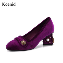 Kcenid 2018 New woman velvet shoes purple ladies dress shoes woman square toe high heels pumps retro metal design zapatos mujer(China)