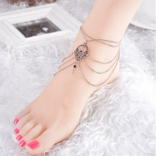 2017 Vintage Antique Silver Anklets Women Hollow Beads Bohemian Ankle Bracelet Boho Beach Foot Jewelry Anklets S369001