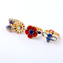 Lovely/bee/butterfly flower lady three-ring exaggerated ring Europe and the United States foreign trade jewelry wholesale(China)
