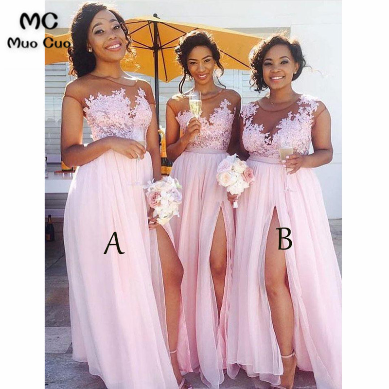 Lace Appliqued Bodice Pink Chiffon Long Mismatched Bridesmaid Dresses with Slit 4