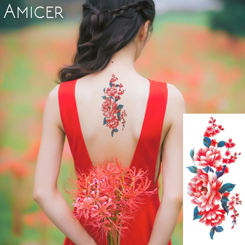 3D lifelike Cherry blossoms rose big flowers Waterproof Temporary tattoos women flash tattoo arm shoulder tattoo stickers 22