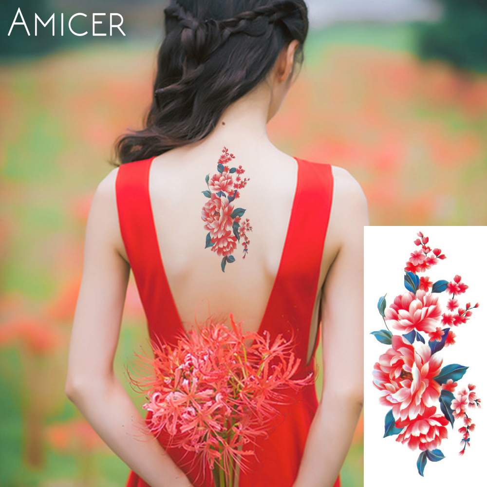 3D lifelike Cherry blossoms rose big flowers Waterproof Temporary tattoos women flash tattoo arm shoulder tattoo stickers 22