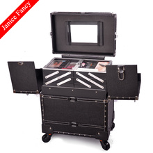 New 2016 Hot Professional Designer Makeup Organizer Trolley Large Capacity Portable Travel Cosmetic Beautician Storage Box