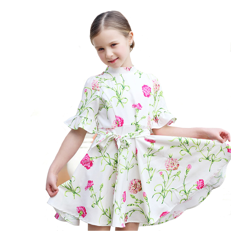 Floral Girls Dress Autumn Baby Princess Robe Children Thin Flower Print Three Quarter Petal Sleeve for Party 4Y-12Y<br>