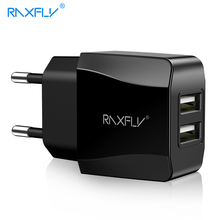 Buy RAXFLY Dual USB Charger EU Plug 2.4A Travel Wall Mobile Phone Adapter 2 Ports Charging iPhone X 7 Plus Xiaomi Samsung S9 S8 for $4.41 in AliExpress store
