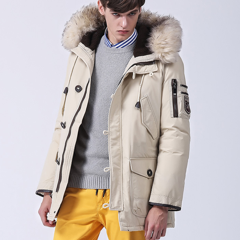 2017 New Light Down Men Winter Jacket Men Duck Down Coat Cashmere Fleece Parka Mens Jackets Coats Real Fur Hooded Parkas for Man