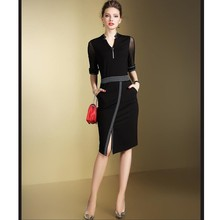 Zmvkgsoa Women Elegant Vintage Pencil Dresses 3/4 Sleeve Slim V Neck OL Work Office Business Bodycon Dress Club Vestidos Y1659(China)