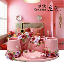 New 5pcs Bath Set Resin Bathroom Accessories Set Soap Dish Toothbrush Holder Lotion Dispenser Tumbler(China)