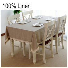 Fashion Flax Color 100% Pure Linen Table Cloth Tablecloths Universal Dust Cover Coffee Table Towel Tablecloth