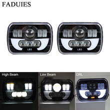 "FADUIES 5""x 7"" 6X7"" Projector Rectangular Headlights Assembly With Angel Eyes DRL For 87-95 Jeep Wrangler YJ 85-87 Chevy Truck(China)"