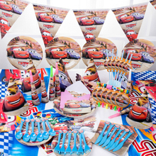 For 10kids Cars Theme Birthday Party Decoration Kids Tablecloth Candy Box Tableware Set Baby Shower Party Supplies Party Favor