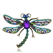 Unique Design Multi Color Dragonfly Brooch Pin Scarf Accessory Spring Wings Fashion Jewelry Gift(China)