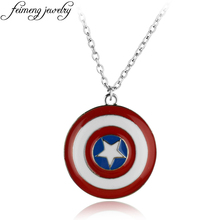 Super Hero Captain America Necklace The Avengers Superhero Logo Shield Pendant Necklace For Men Fashion Jewelry Gifts(China)