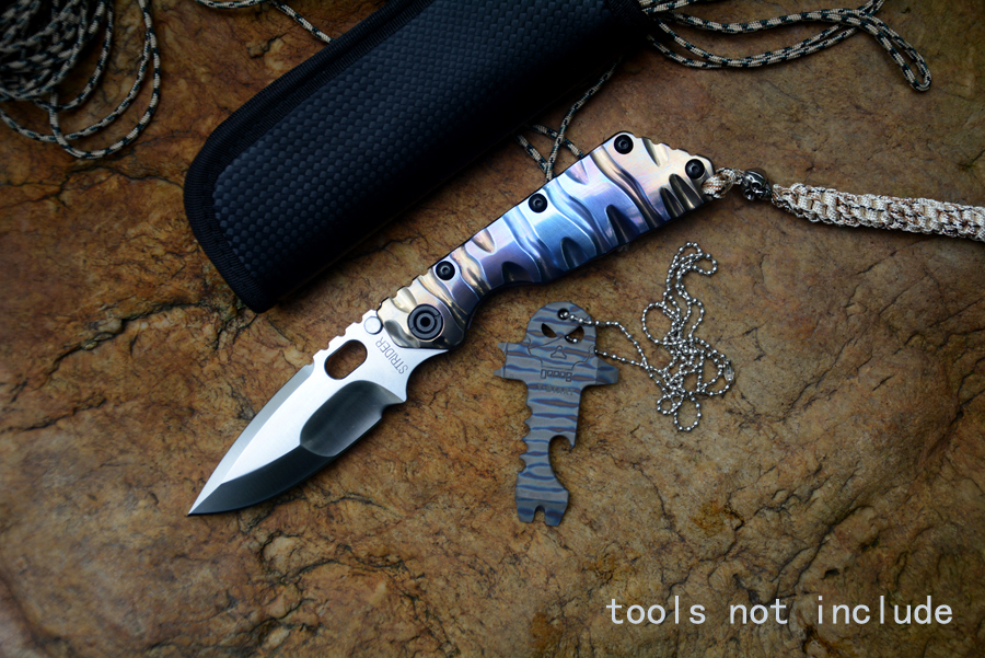 Y-START knives SMF folding knife satin D2 blade ball bearing washer TC4 flame texture handle outdoor tool tactical knife