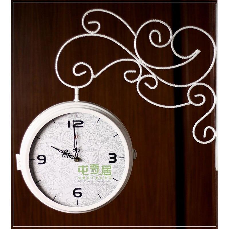 double sided wall clock modern design wrought iron watch saat wall clocks relogio de parede reloj