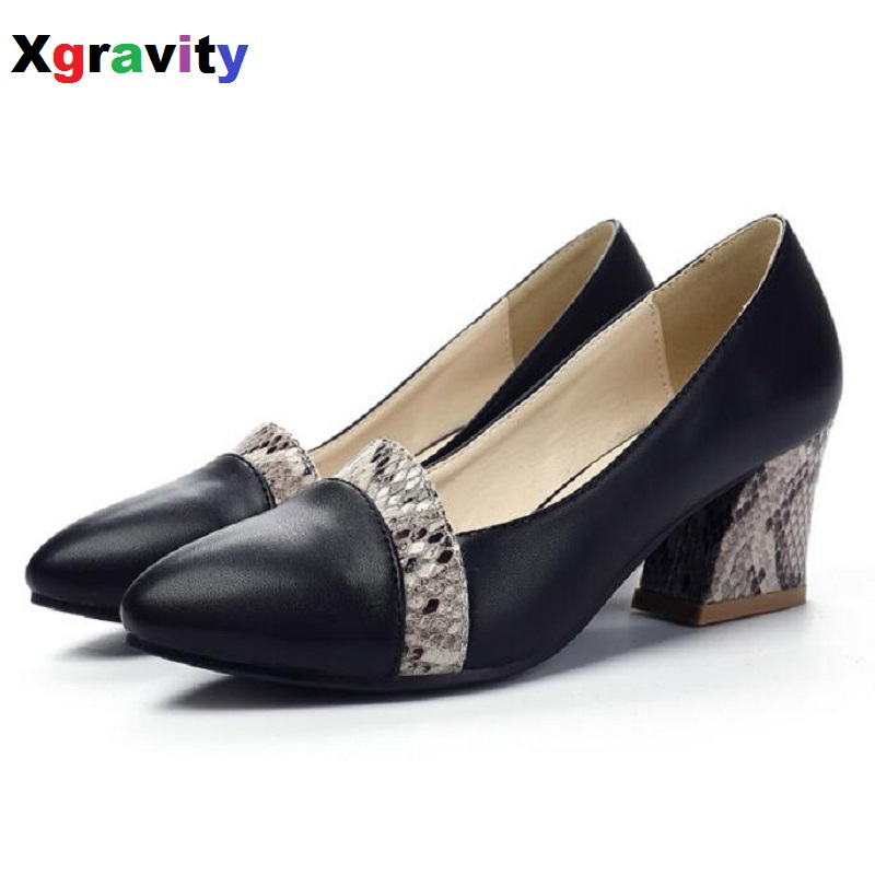2017 Autumn Point Toe Dress Shoes Chunky Ladies Fashion Women Evening Shoes Elegant Genuine Leather Woman Snakeskin Heels  C116<br>