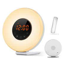 Wake Up Light FM Radio Sunrise Sunset Simulator Alarm Clock Nature Sounds Smart Snooze Functions With USB Charger