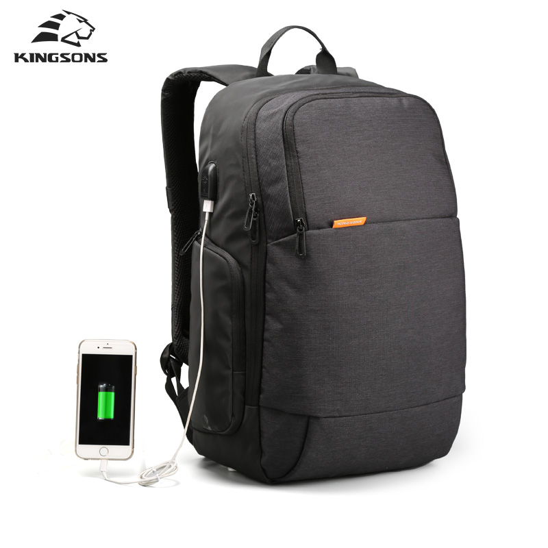 Kingsons Brand External USB Charge Laptop Backpack Anti-theft Notebook Computer Bag 15.6 inch for Business Men Women<br>