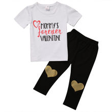 Summer Casual Newborn Baby Boys Tops mommy Letter Short Sleeve Baby Set Clothes Cotton T-shirt+Gold Heart Long Pants Leggings