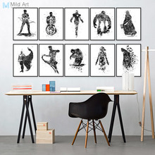 Modern Watercolor Black Superhero Avenger Batman A4 Movie Poster Print Pop Wall Art Picture Kids Room Home Deco Canvas Painting(China)