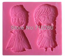 G068 Girl Cartoon Figure Silicone Fondant Baking Mould Army Cake Tool