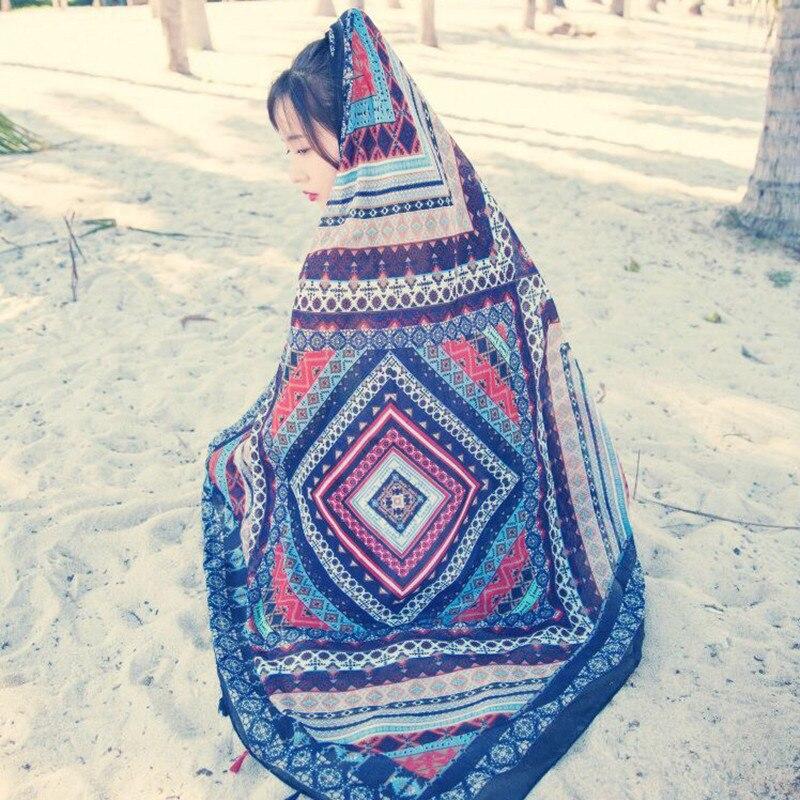 2017 spring and autumn new fashion RETRO art totem fringed folk style cotton scarf shawl scarves<br>