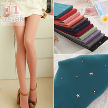 2017 Five-pointed Star Rhinestone Stockings Body stockings Pattern Pantyhose Sexy Comfortable Candy Color 120D Velvet Pantyhose(China)
