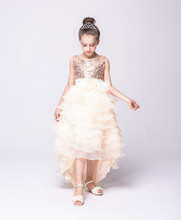 Fashion layered tulle hem for kids long sequined asymmetrical lavender red champagne flower girls wedding dresses