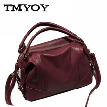 TMYOY 2017 PU Leather Boston Women Messenger Bag Top-Handle handbag retro Western style Handbags Ladies Tote Shoulder Bag WB018