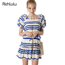 RichLuLu Apparel Ruffles Slim Women Summer Dress Color Block Stripe Frill Sleeve Mini Dress Casual Female Pullover Vestido Dress