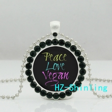 DC--0024 New Peace Love Vegan Necklace Herbivore Plants Jewelry Vegetarian Crystal Pendant Ball Chain Necklaces