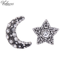 Vedawas Fashion Individuality Crystal Gems Star Moon Statement Stud Earrings For Women Party Gift Jewelry Accessory 1207