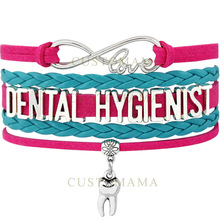 (10 PCS/Lot) Infinity Love Dental Hygienist Tooth Charm Wrap Bracelets For Women Hot Pink Turquoises Leather Bracelet Jewelry