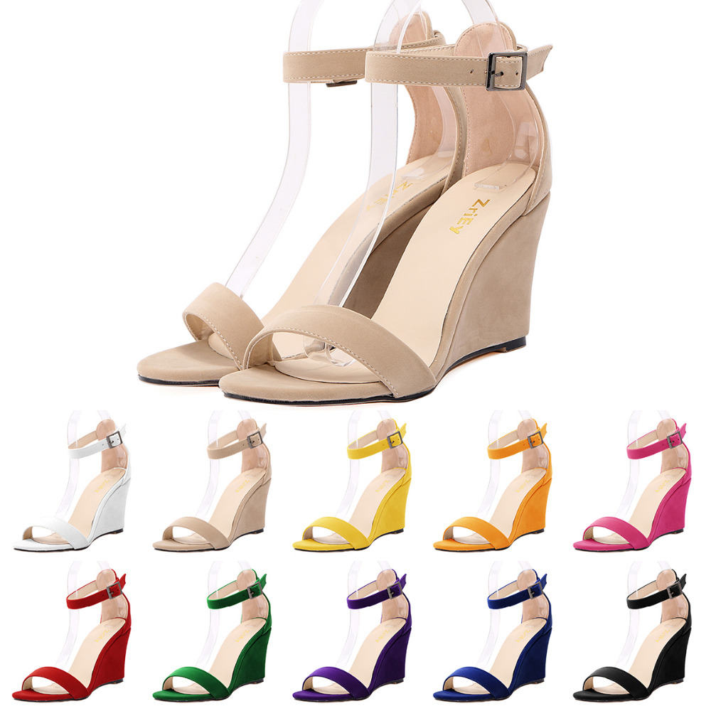 Summer Women Flock Sandals Open Toe Med Wedges Casual Pointed Toe shoes sandals Ankle Strap Suede Pumps<br>