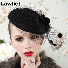 A043 Black  Womens Vintage Fascinator Wool Hair Pillbox Hat Rose Veil Cocktail Party Wedding